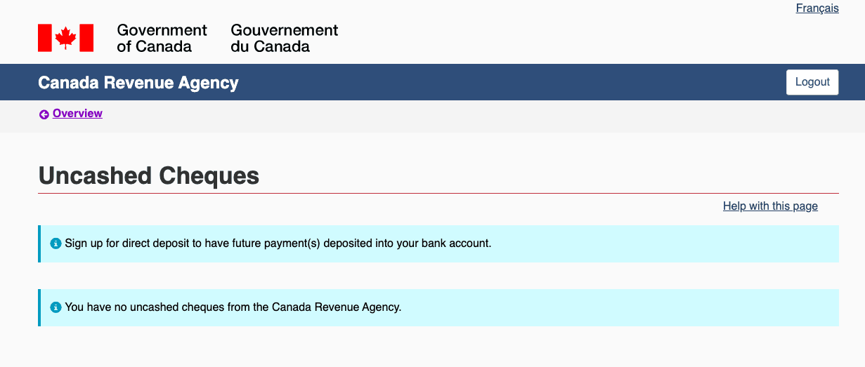 CRA uncashed cheque