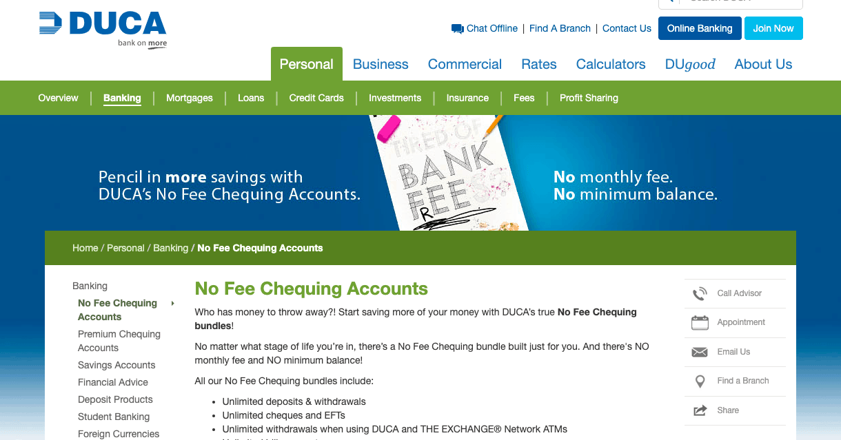 DUCA No Fee Chequing Account