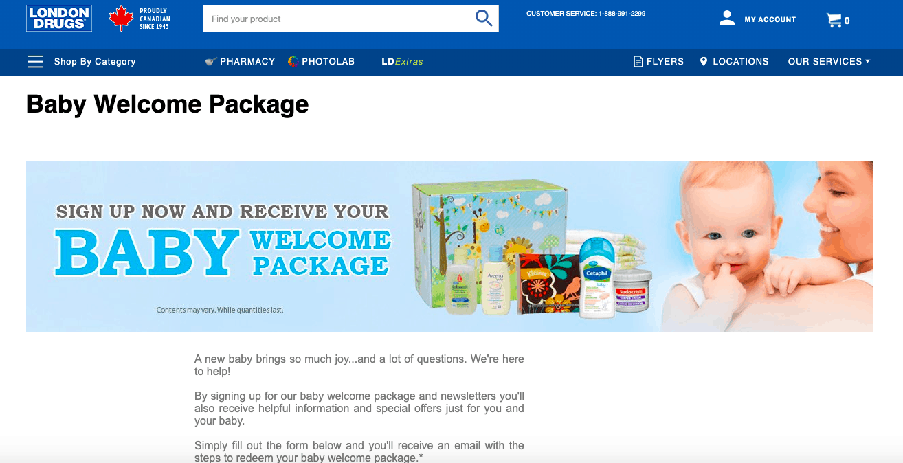 London Drugs baby package