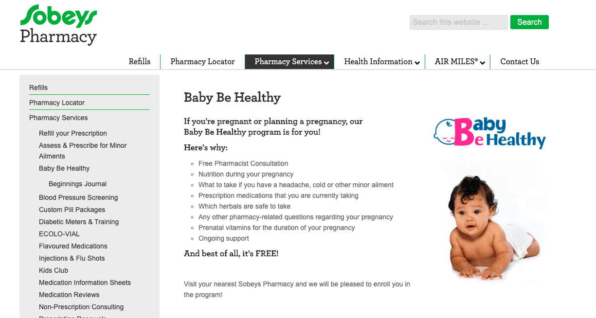 Sobeys Pharmacy Baby Be Health Program