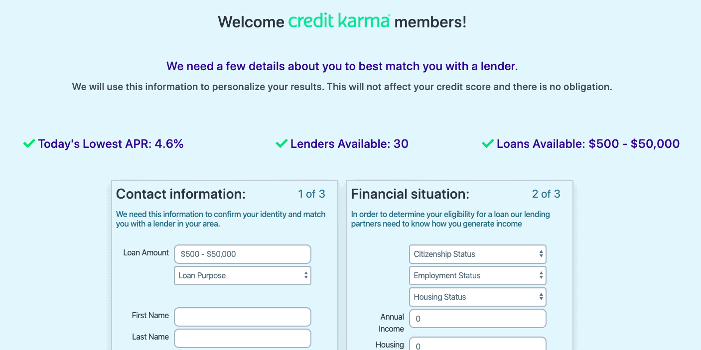 Credit Karma Loan Connect