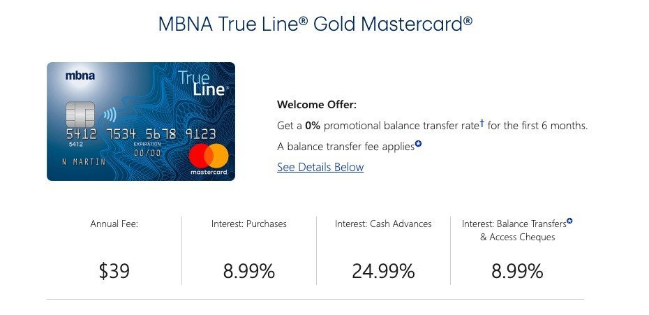 MBNA True Line Golden MasterCard