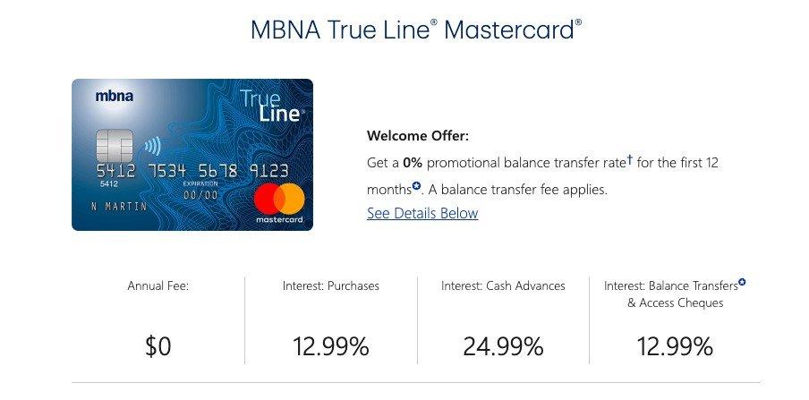 MBNA True Line MasterCard