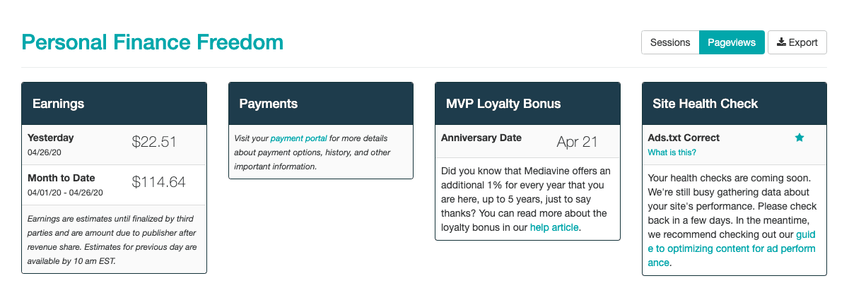 Mediavine earnings