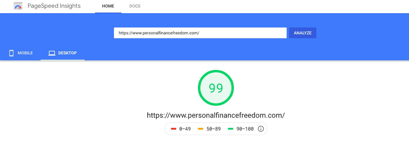google pagespeed score